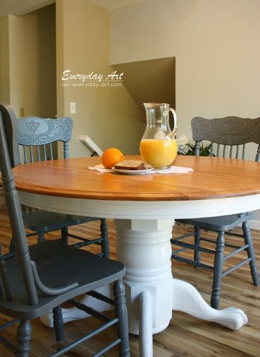 Everyday Art: Painted Kitchen Table @Emily Kennedy these look like the same chairs mom and dad gave you