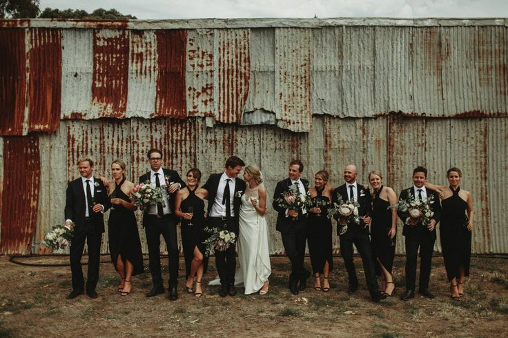 Rustic bridal party photography