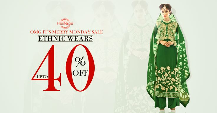 Grab the biggest offer ever... Get upto 40% off under #MerryMondaySale on the select of designer women's wear crafted of high quality fabrics in the affordable price from http://goo.gl/KFSIZB! #DeepkalaSilk