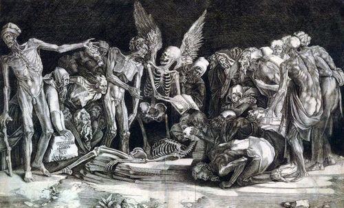 Agostino Veneziano - The skeletons & the elders (1518).
