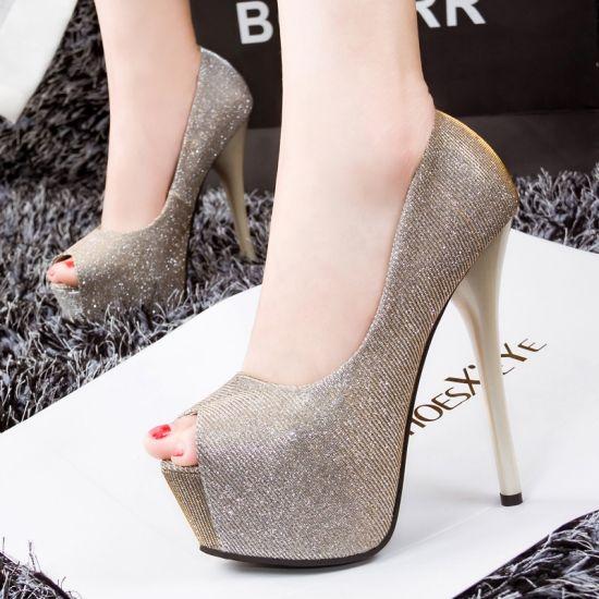 Sexy Peep Toe Platform Heel Prom Shoes