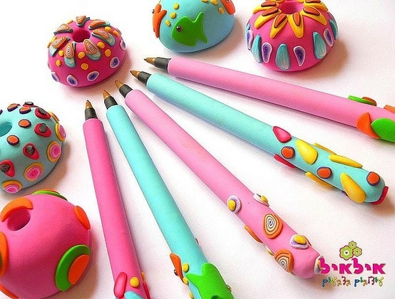 polymer clay pens and pen holders by angelique