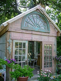 Glass Garden House made from old windows.