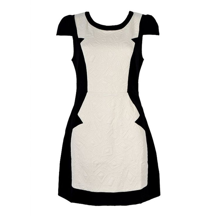 CONTRAST BODYCON DRESS WITH TEXTURED PANEL