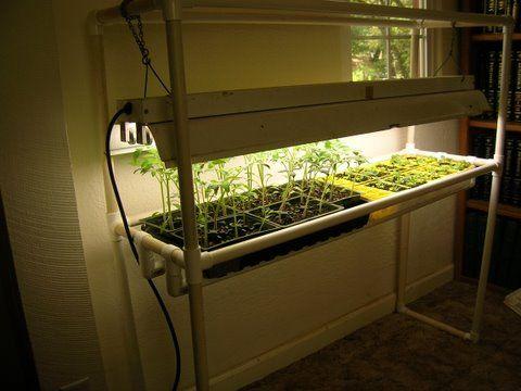 Build a PVC lighted grow rack for plants