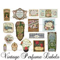 Perfume Label Digital Collage Sheet ON SALE!!! Digital Download / French Vintage…