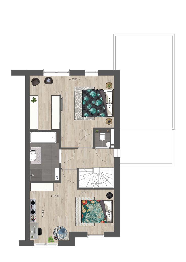 Indeling van de 1e verdieping met een inloopkast #vanwanrooij #nieuwbouw #interiors