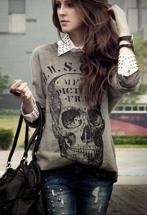 Skull Print Sweater With Studs Shirt