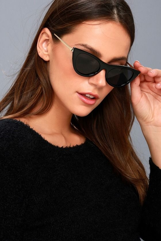 af7fd2a2580 We are obsessed with the retro vibes of the Le Specs Enchantress Black  Cat-Eye Sunglasses! These trendy sunnies feature a minimal