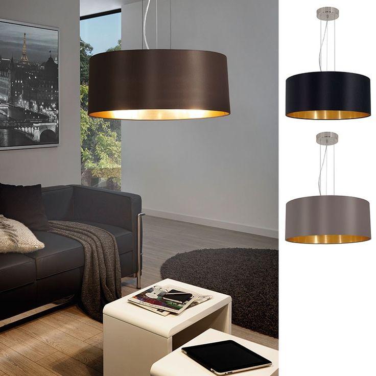 Maserlo Taklampe 53 cm - Maserlo er en serie klassiske og vakre taklamper med runde skjermer i stoff i sort eller cappucino farge. Innsiden har en vakker gull farge som vil gi deg et behagelig, gyllent lys. Takkopp og andre detaljer er produsert i stål og utført i nikkel farge.
