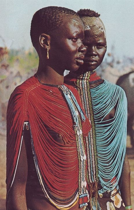 "kicker-of-elves: "" Dinka women in Sudan National Geographic November 1984  Angela Fisher "":"