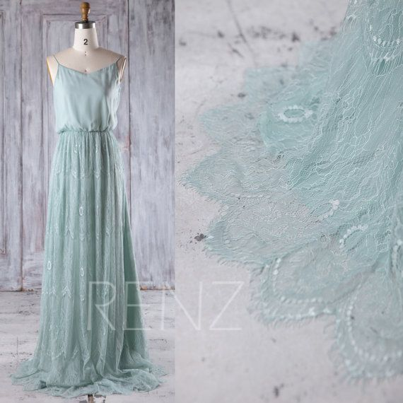 2016 Dusty Shale Chiffon Lace Bridesmaid Dress, Spaghetti Straps Wedding Dress, Long Evening Gown, Luxury Prom Dress Full Length (LL231)