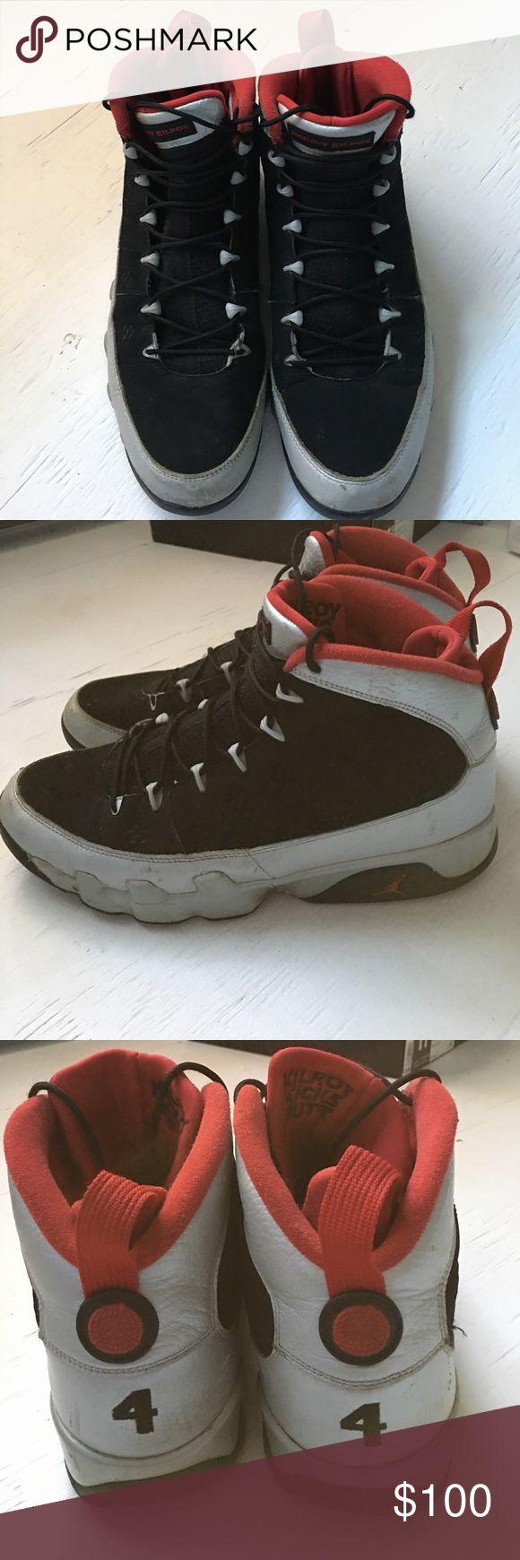 Men's Kilroy Retro Jordan sneakers. Men's Retro  9 Jordan Sneakers. One foot size 11 one foot 11.5 black, silver and red. Worn with creasing Air Jordan Shoes Sneakers