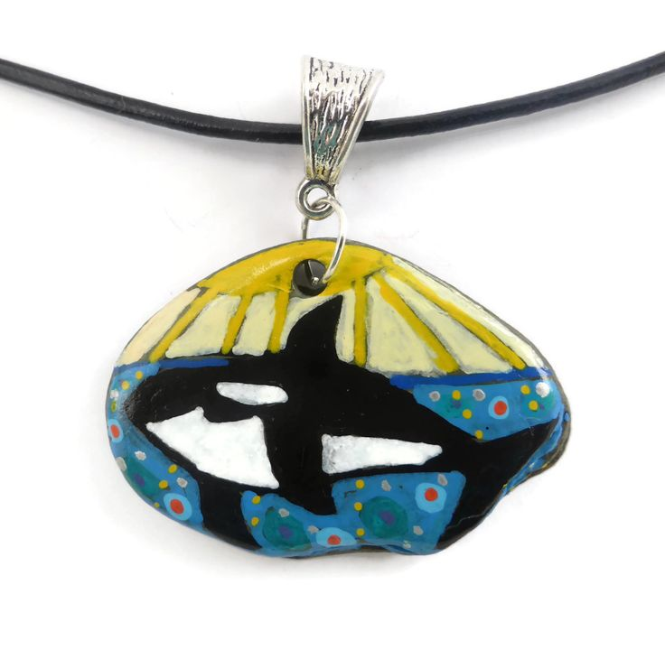 Killer Whale Necklace, Hand Painted on Pebble Necklace, Colourful Jewellery, Statement Necklace, Whale Lovers Gift, Quirky Gift, Whale Art by Larryware on Etsy