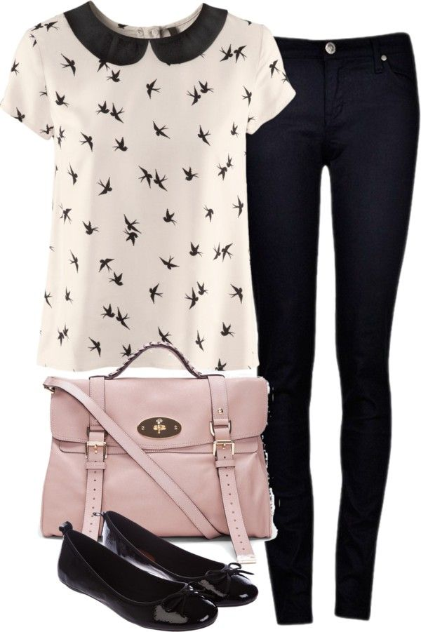 Eleanor inspired outfit for lunch  H M blouse / Black jeans / Miss KG slip on shoes, $31 / Mulberry oversized handbag