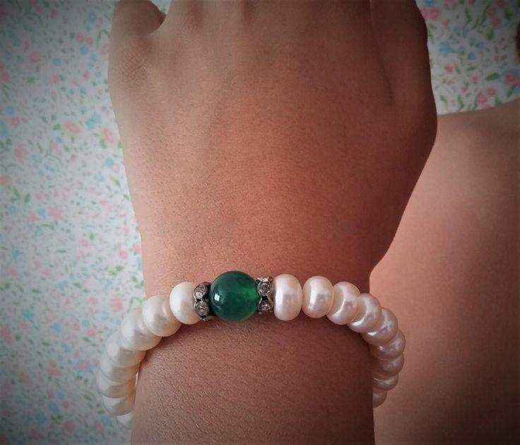 Pulsera de perlas cultivadas con cristal color