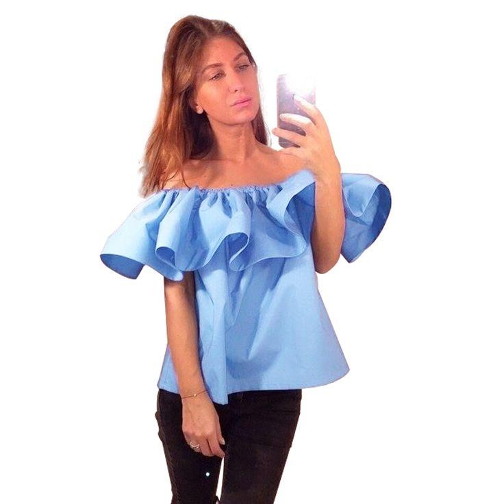 Высокое качество сексуальная off плечи женщины блузка рубашка летние стиль урожай топы слэш шеи оборками ну вечеринку топы тис девушки пляж верхнюю часть пробки купить на AliExpress