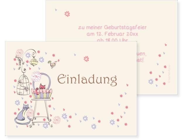 Kätzchen Einfachkarte 2-seitig 170x120mm beige / chamois, Geburtstag, Einladungskarten, Geburtstagskarten, Kindergeburtstag, Kids, Birthday,  Party, Birthdayparty