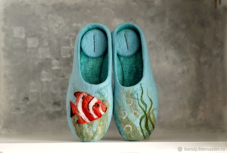 "Felted Slippers ""Ocean"" Felt Slippers Size 37 – shop online on Livemaster with shipping"