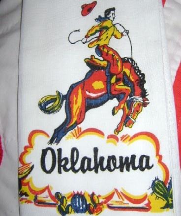 Oklahoma State Souvenir Kitchen Towel Cowboy On Bronco   Flour Sack