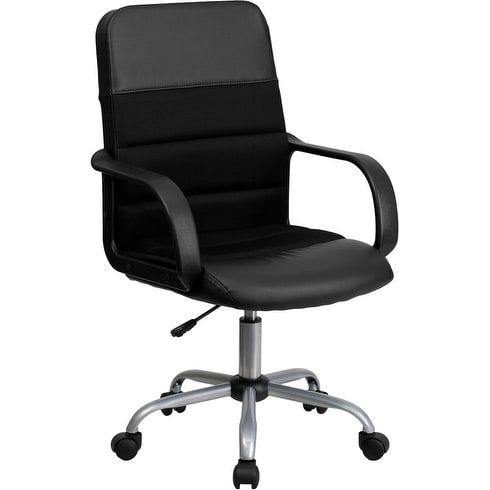iHome Brittany Mid-Back Black Leather & Mesh Swivel Home/Office Task Chair w/Arms