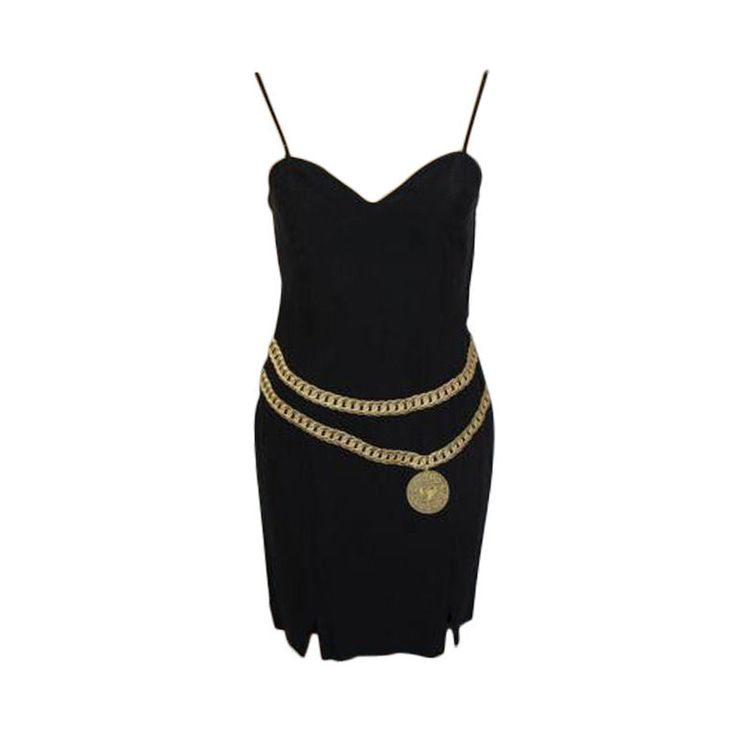 #Moschino Black Embroidered Gold Belt #Dress