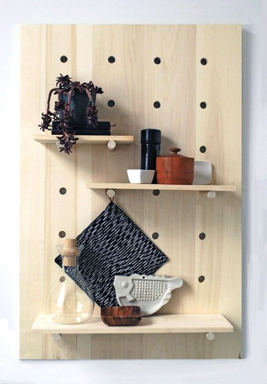 DiY Pegboard - love this idea for any room! Can paint the board and even paint the shelves with an accent color.