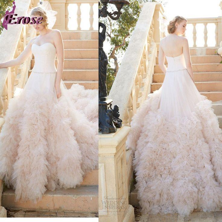 2014 мода без бретелек краснеет розовый свадебное платье с рюшами поезд LOU-021
