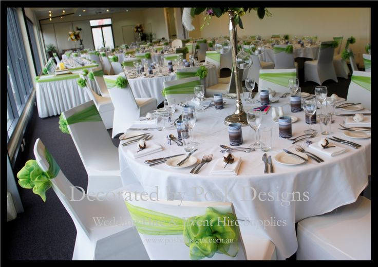 Lime green organza sashes, white lycra chair covers, - #wedding and #event #theming available at #poshdesignsweddings - #sydneyweddings #countryweddings #southcoastweddings #wollongongweddings All stock owned by Posh Designs Wedding & Event Supplies - lisa@poshdesigns.com.au,  www.poshdesigns.com.au or www.facebook.com/poshdesigns.com.au #Wedding #reception #decorations #Outdoor #ceremony decorations #Corporate #event decoration