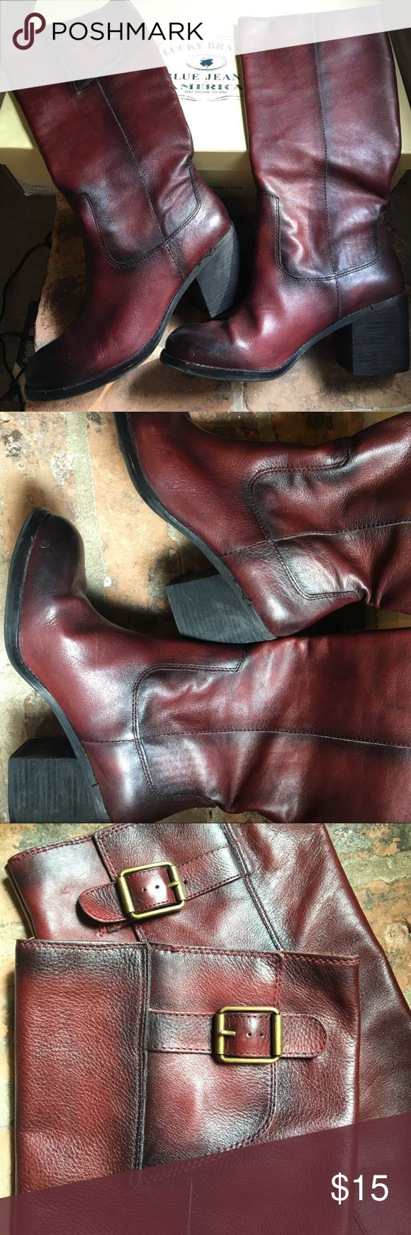 """Lucky Brand riding boots Great condition distressed leather riding boots from Dillard's. the color is kind of a burgandy/wine. 3"""" heel. Lucky Brand Shoes Winter & Rain Boots"""