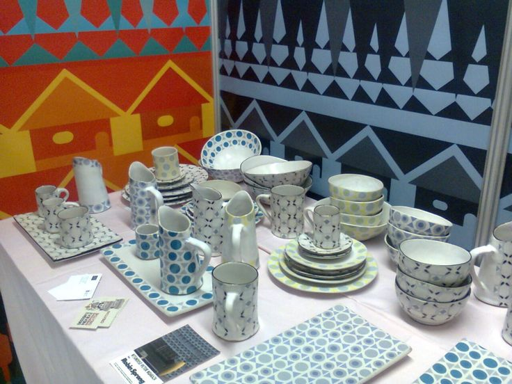 Victors colourful African huts make impactful backdrop for some of his pottery featured at Design Indaba 2014.