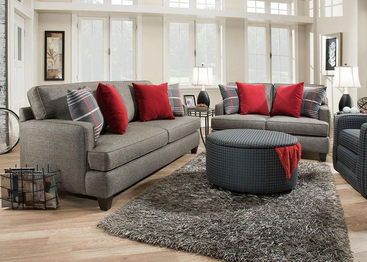 Living Room Idea Bright Red And Plaid Accent Pillows Www Theroomplace