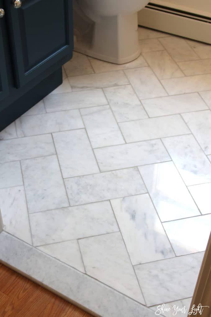 Large Herringbone Marble Tile Floor How To Diy It For Less Marble Tile Bathroom Bathroom Floor Tiles Tile Floor