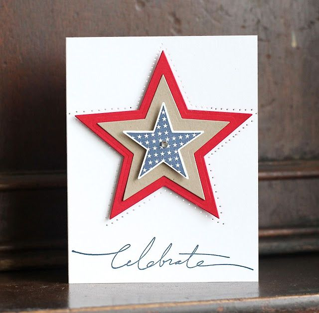 """handmade 4th of July card from Deb's Card Buffet ... clean and simple design ... """"celebrate"""" in script font for the sentiment ... layered die cut star is the main focal point ... piercing outlines the star ... red, white, blue and kraft for Color Throwdown Challenge #247 ... beautiful card!!!"""