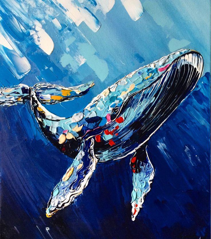 Купить На глубине - вода, океан, кит, синий цвет, акрил, мастихин, киты