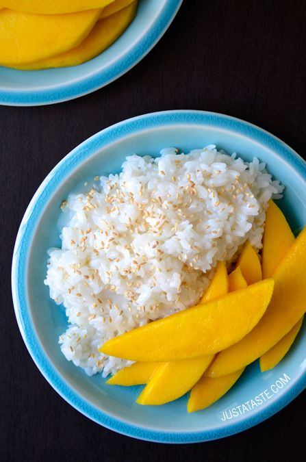 Thai Coconut Sticky Rice with Mango #recipe from justataste.com