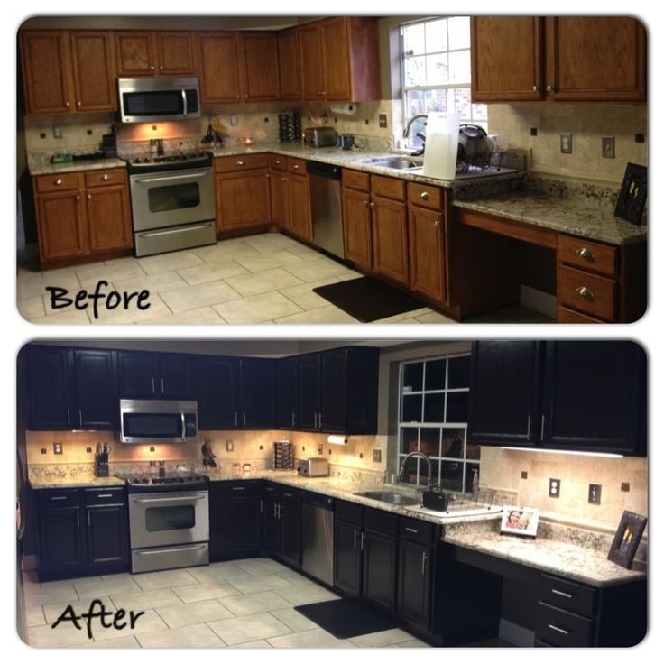 """Kitchen stained with """"General Finishes"""" stain gel in """"java"""". General Finishes products are available in stores across America, Canada, and the UK, including Rockler Woodcraft Stores."""