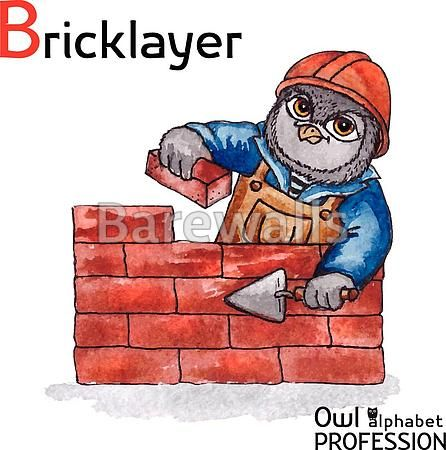 """""""Alphabet professions Owl Letter B - Bricklayer Vector Watercolor."""" - Classroom decor posters and prints available at Barewalls.com"""