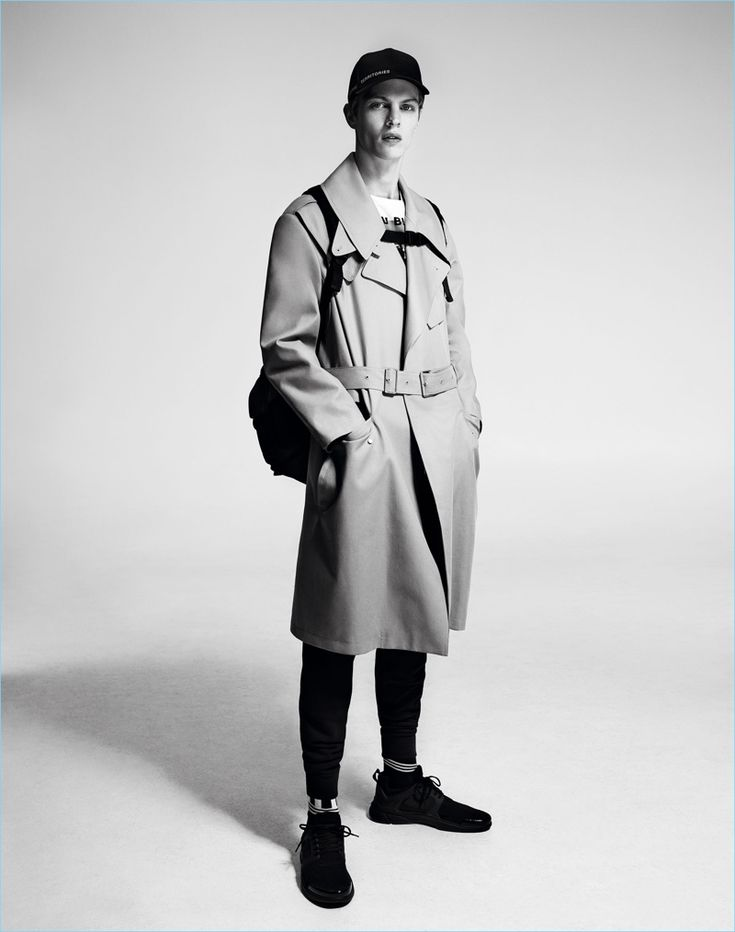 Tim Schuhmacher is belted into a trench for Zara Man's spring-summer 2017 campaign.
