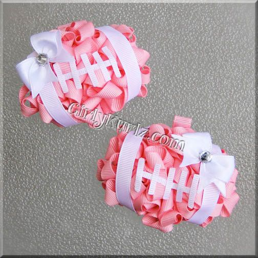 PINK Football Hair Bow Football Bow NFL Hair Bow Football Hair Clip