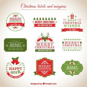 Christmas labels and insignias
