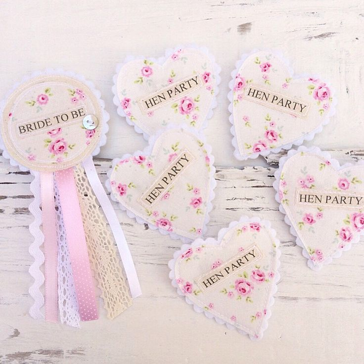 Hen Party Badge Set - Shabby Chic Vintage Hen Party - Floral Fabric Badges - Rosette Heart Set by shopwillynilly on Etsy https://www.etsy.com/listing/234181839/hen-party-badge-set-shabby-chic-vintage