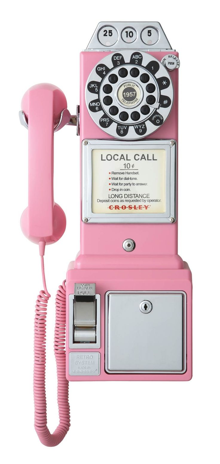 retro pink pay phone .. it works just like a house phone!!!