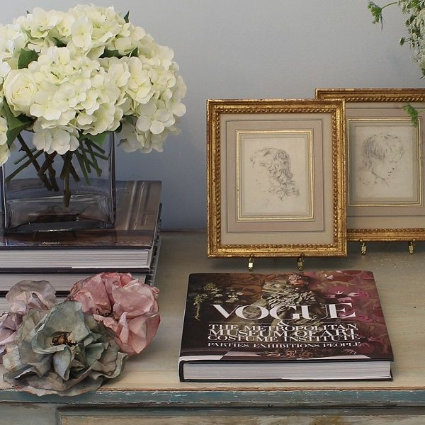 Vignette by Andrea Fisher Design with 18th c. French Drawings and Contemporary Hand Painted and Sculpted Fowers, available through our Gallery at AndreaFisherDesign.com #marielouiseotte #vogue #interiordecor #18thcentury #frenchart #rococo #classicdesign #traditional
