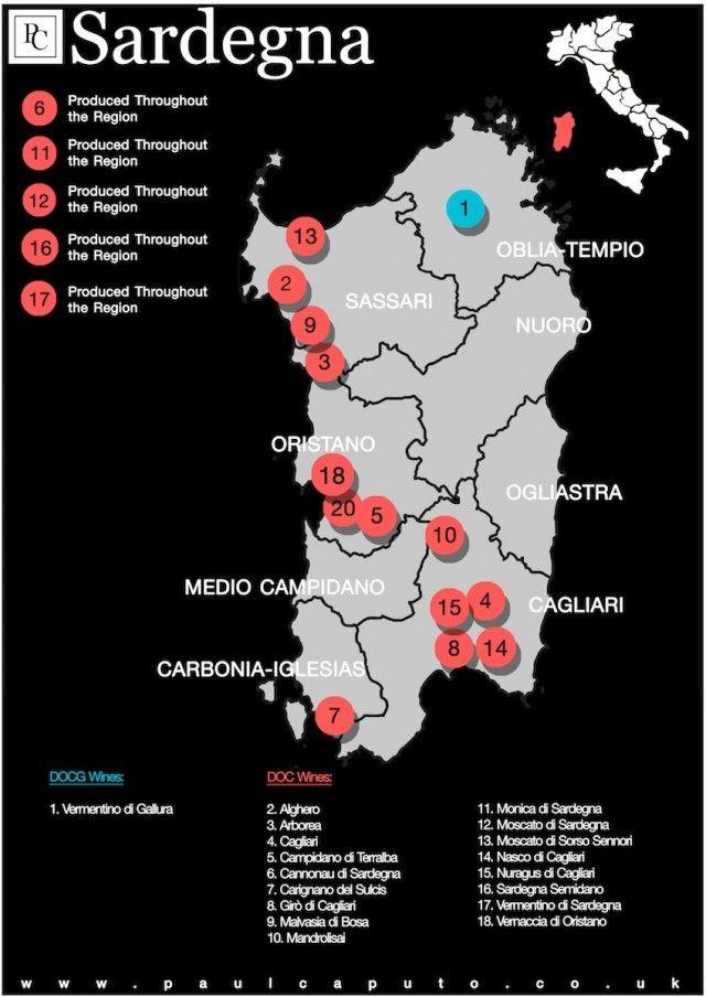 DOC and DOCG Map of Sardegna