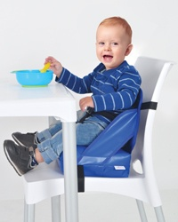 The Boosto chair is quickly and easily secured to a   chair with adjustable straps. Its belly straps and side   supports provide a high standard of safety protection for   your child.