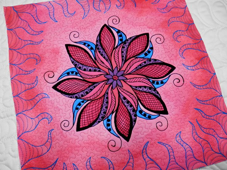 hand paiting for textiles & free motion quilting....:-) art quilt, mandala