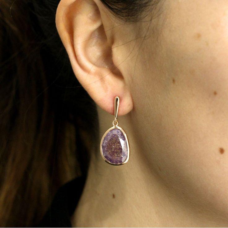 Pendiente plata piedras purpura violeta hielo