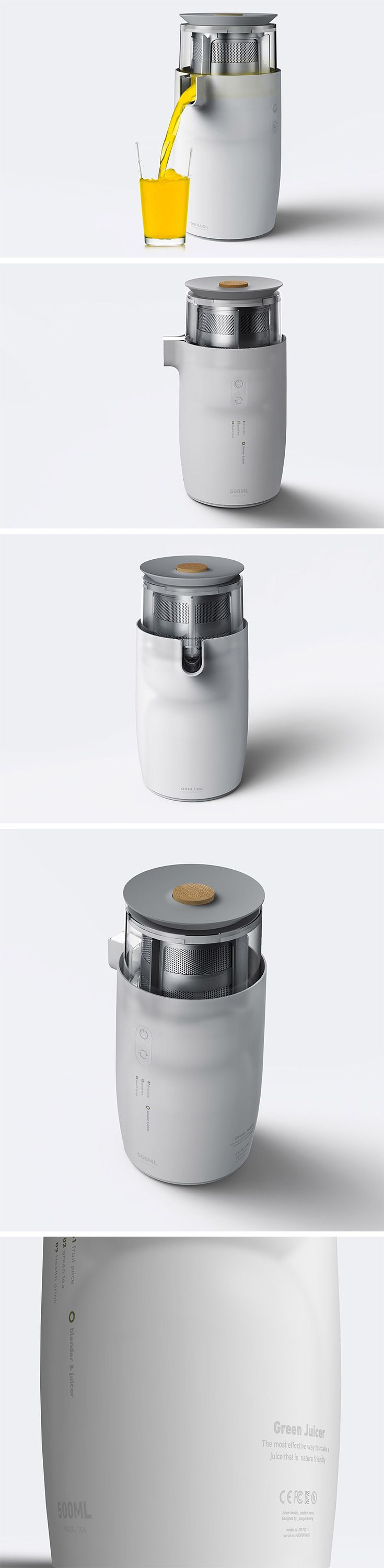 What if the Osulloc brand, known for their green tea treats, made a juicer? This concept explores that very question. Simply drop in your desired veggies or fruits and turn on the tap to pour a fresh glass.