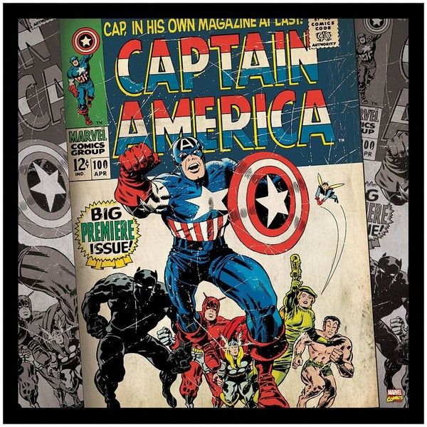 Marvel Comic Captain America Premier Framed Wall Art ($30) ❤ Liked On  Polyvore Featuring